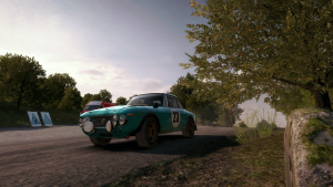 Racing in DiRT Rally.