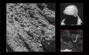 Philae found, Copyright Main image and lander inset: ESA/Rosetta/MPS for OSIRIS Team MPS/UPD/LAM/IAA/SSO/INTA/UPM/DASP/IDA; context: ESA/Rosetta/NavCam – CC BY-SA IGO 3.0