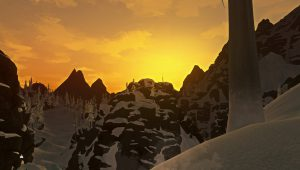 Exploring a mountainous region in The Long Dark.